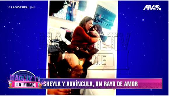 Sheyla Rojas y Luis Advíncula en una fotografía mostrada en el programa conducido por Magaly Medina.   Foto: Captura de pantalla.