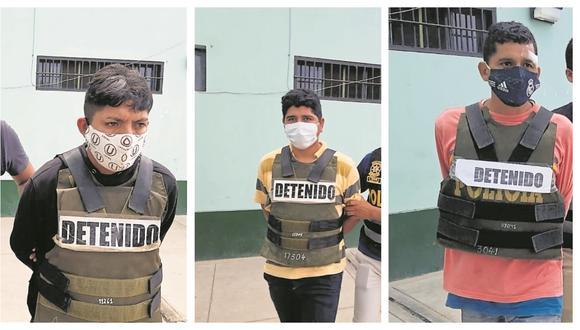 Se trata de Erick Paul Moreno Peña, Luis David Mena Calero y el venezolano José Eduardo Oviedo Rodríguez. Ellos serán investigados por robo agravado.