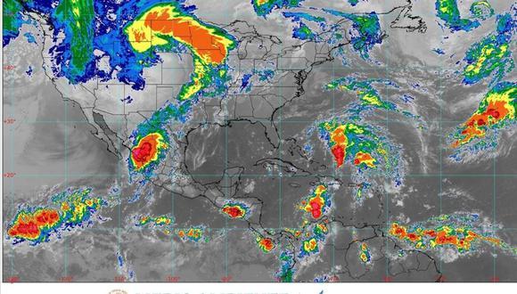 El fenómeno se desplaza hacia el noreste a 22 kilómetros por hora. (Foto: Twitter @conagua_mx)