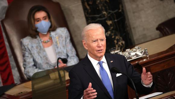 El presidente de Estados Unidos, Joe Biden, se dirige a una sesión conjunta del Congreso. (Foto: EFE/EPA/Chip Somodevilla)