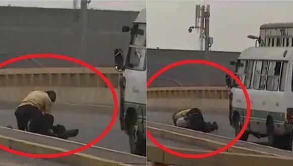 Choferes se pelean en plena pista y generan congestión vehicular en SMP (VIDEO)