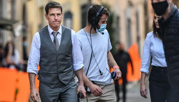 """Tom Cruise durante el rodaje de la séptima película de """"Misión Imposible"""" en Roma. (Foto: AFP/Alberto Pizzoli)"""