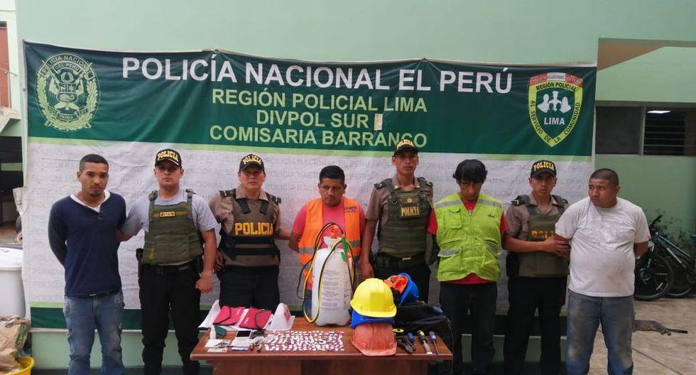 Los detenidos fueron llevados a la comisaría de Barranco. (Policía Nacional del Perú)