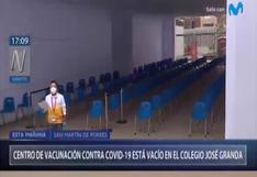Covid-19: Centro de vacunación lució vacío en San Martín de Porres