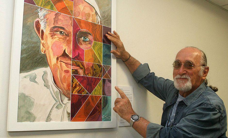 Artista argentino presentó en Lima pintura en homenaje al Papa