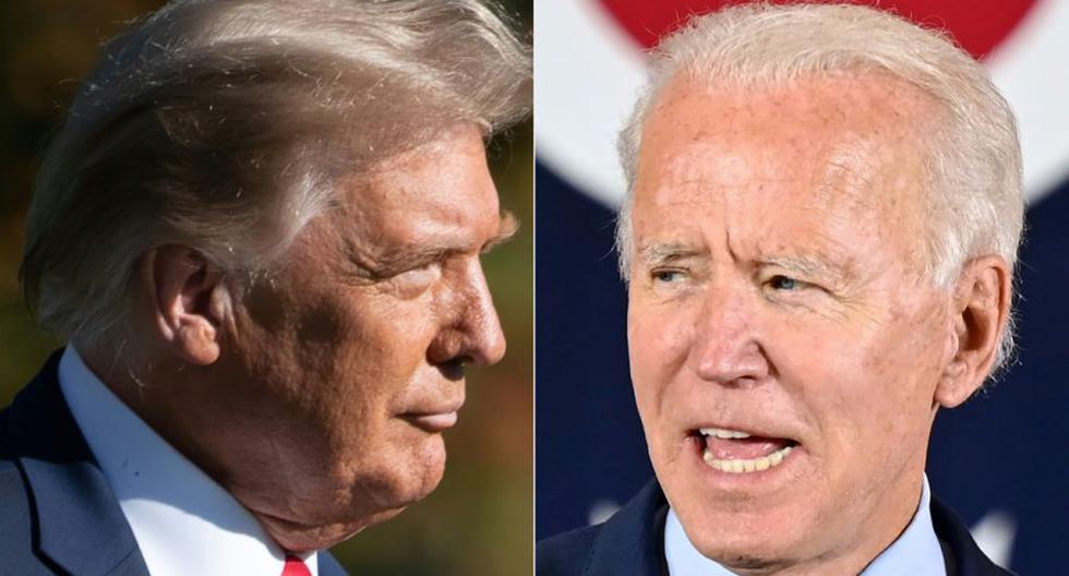 """Trump, que teme convertirse en un presidente de un solo mandato, acentuó en los últimos días sus ataques personales contra Biden, cuestionando su integridad y afirmando que su familia es una """"empresa criminal"""". (SAUL LOEB y JIM WATSON / AFP)."""