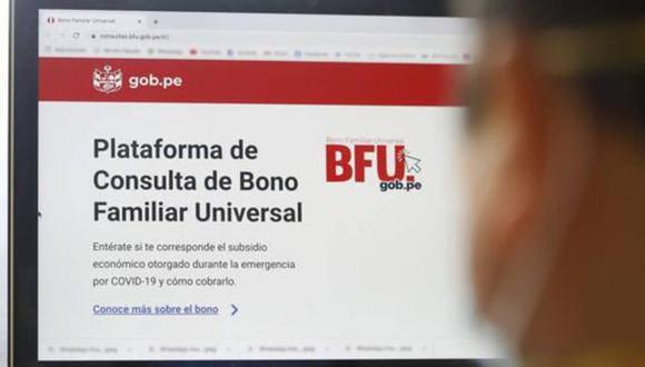 El Bono Familiar Universal se entregó a las familias en situación de pobreza del país, golpeadas por el COVID-19 (Andina)