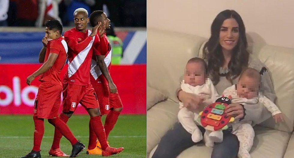 Novia de André Carrillo canta el Himno Nacional del Perú junto a sus mellizos