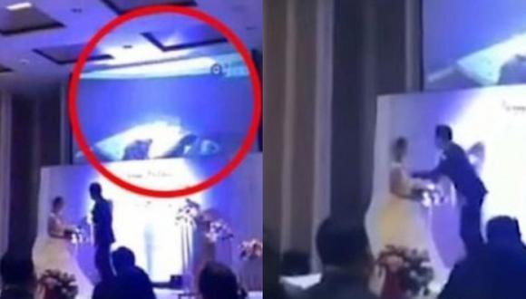 Novio muestra video de infidelidad de su pareja en plena boda