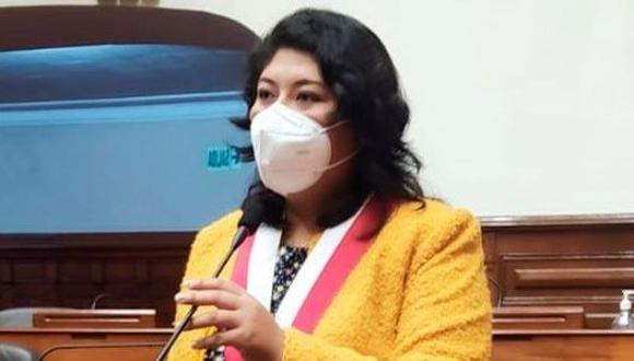Betssy Chavez Chino integra la bancada oficialista de Perú Libre y representa a Tacna. (Foto: Difusión)