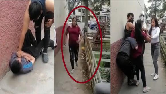 Momento en que la madre del delincuente lo ayuda en escapar en San Martín de Porres.   Foto: 24 Horas.