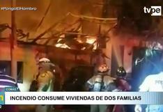 Feroz incendio deja dos familias damnificadas en Comas