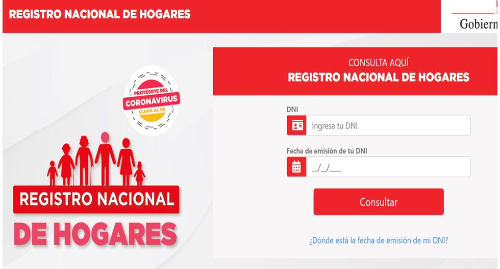 LINK inscripción Bono Familiar Universal y Registro Nacional de ...