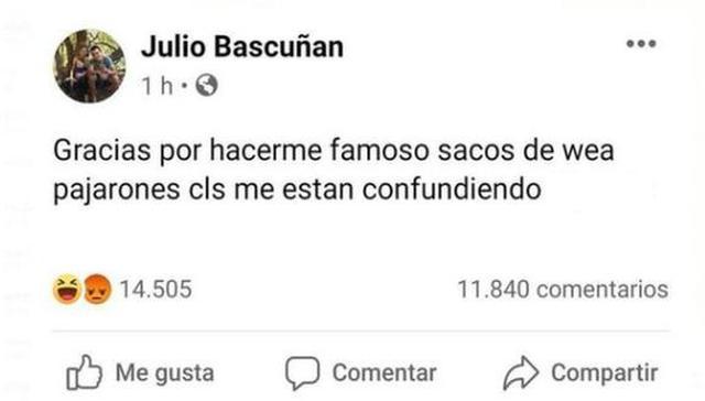 Confunden a usuario de Facebook con Julio Bascuñán (Facebook)