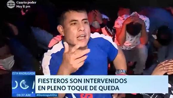 """Sujeto desafió a reportero tras ser detenido en fiesta pese a la crisis sanitaria: """"No me arrepiento de nada"""" Captura: América TV"""