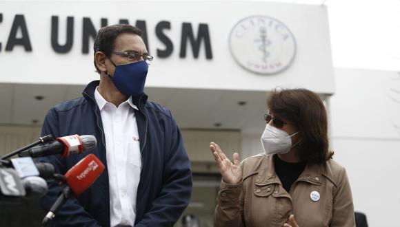 Presidente Martín Vizcarra llega a la clínica de la Universidad Nacional Mayor de San Marcos donde realizan prueba de la vacuna contra el Covid-19. (Foto: Francisco Neyra/GEC)