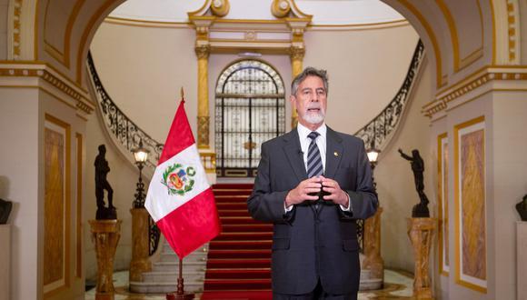 Francisco Sagasti en mensaje a la Nación.   Foto: Andina