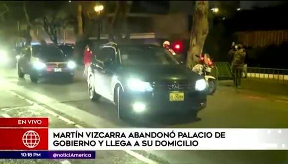 Martín Vizcarra se dirige a su domicilio tras abandonar Palacio de Gobierno. (Foto: Captura América TV)