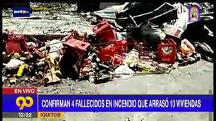 Tres adultos y un niño fallecen por incendio en Iquitos