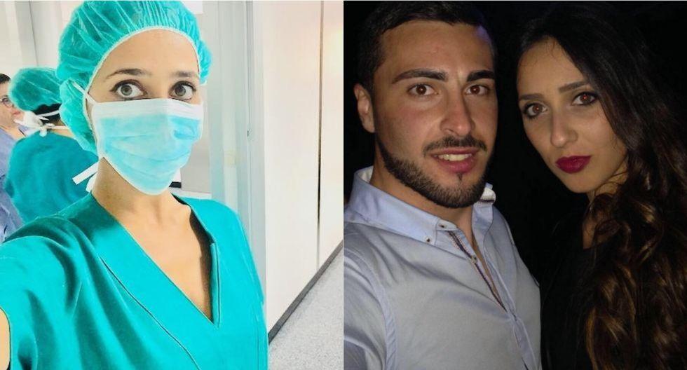 En un lado aparece la médica en el hospital que trabajaba para luchar contra el coronavirus y a la derecha posa con el confeso asesino. Foto: Facebook