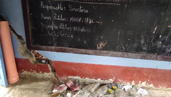 Techo del colegio también se vio afectado. (Foto: COER Áncash)