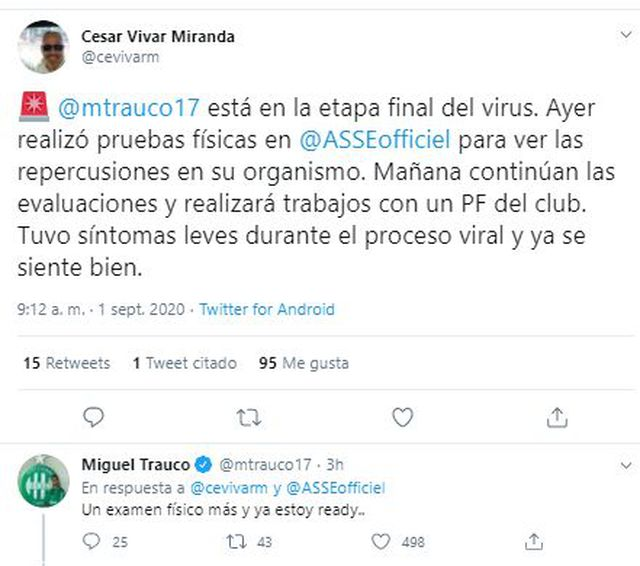 La palabra de Miguel Trauco en Twitter.