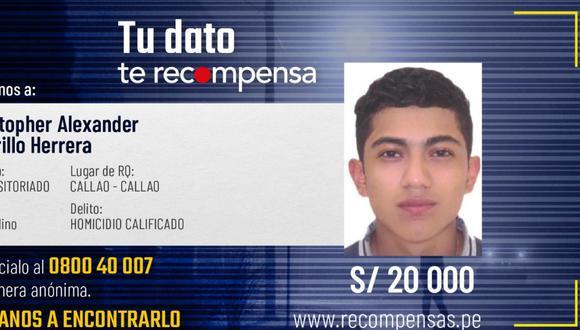 Cristopher Carrillo está buscado por el homicidio de padre de familia en el Callao.