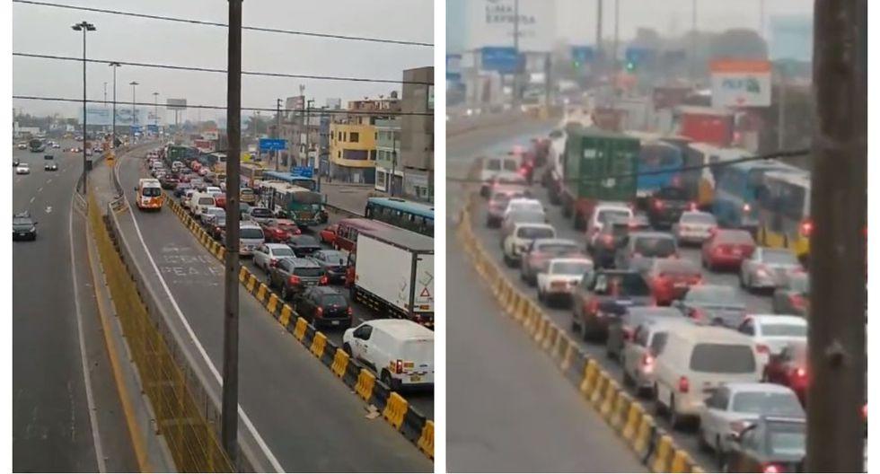 Reportan congestión vehicular en Vía Evitamiento en el día 99 del estado de emergencia por coronavirus. (Captura:@jroca2009)