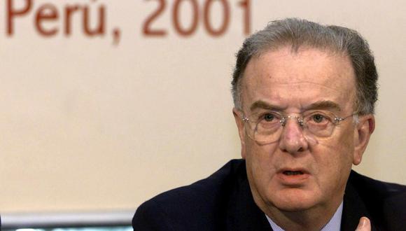 Jorge Sampaio, presidente de Portugal, ofrece una conferencia de Prensa en el marco de la XI Cumbre Iberoamericana, el 24 de noviembre de 2001 en Lima.   (AFP/Alejandra BRUM).