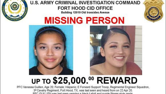 Esta es la imagen con la que las autoridades piden ayuda para encontrar a Vanessa Guillén. (Twitter / @forthood)