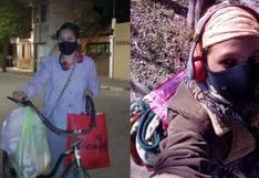Madre argentina educa a sus 5 hijos lavando ropa a mano y repartiéndola en bicicleta