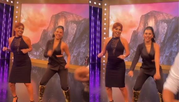 """Stephanie Valenzuela visitó el set de Magaly Medina y juntas bailaron """"El perdón"""". (Foto: Captura @tefivalenzuela)"""