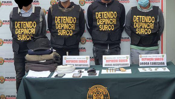 Los intervenidos tienen antecedentes por delito de robo agravado. (PNP)
