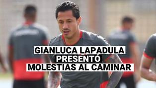 Gianluca Lapadula, después del partido con Colombia, fue visto con molestias al caminar