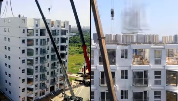 Empresa encargada de ejecutar la obra de 10 pisos en la ciudad china de Changsha hizo público un video de todo el proceso. (Foto: captura de pantalla / YouTube / BROAD Group)