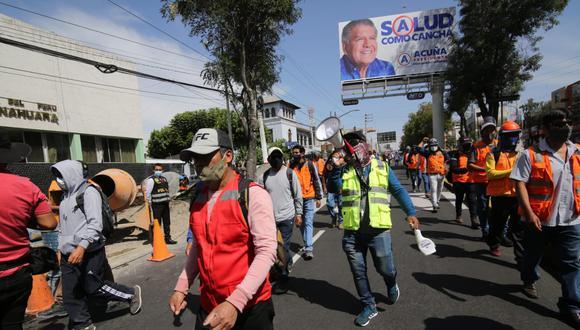 Obreros llegarán hasta la Gerencia Regional de Trabajo| Foto: Leonardo Cuito