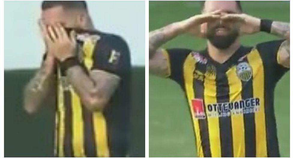 Futbolista llora al marcar gol con el que eliminó al equipo que dirige su padre (VIDEO)