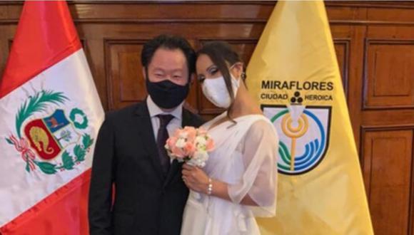 Kenji Fujimori se casó esta tarde con su pareja en Miraflores.
