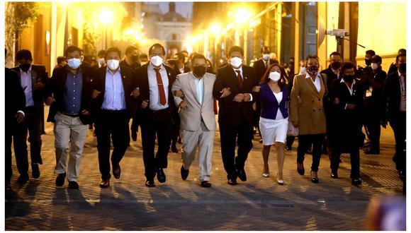 La bancada de Perú Libre (PL) no mantendrá una postura obstruccionista, pese a ratificar su disconformidad con la designación del nuevo Gabinete Ministerial presidido por Mirtha Vásquez. Foto: Hugo Pérez /@photo.gec