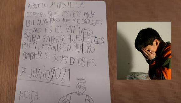El niño de nombre Keita, escribió esta carta en el que demuestra cómo extraña a sus abuelos. (Twitter)