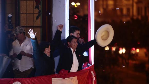 Pedro Castillo dio su primer mensaje tras la proclamación de resultados del JNE. (Foto: Giancarlo Avila / @photo.gec)