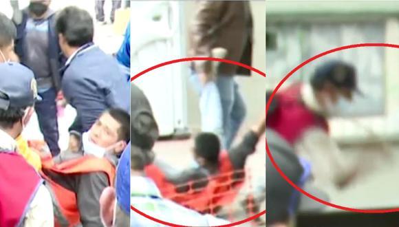 Ronderos atacan a chicotazos a joven frente al Jurado Nacional de Elecciones (JNE). | Foto: Cuarto Poder.