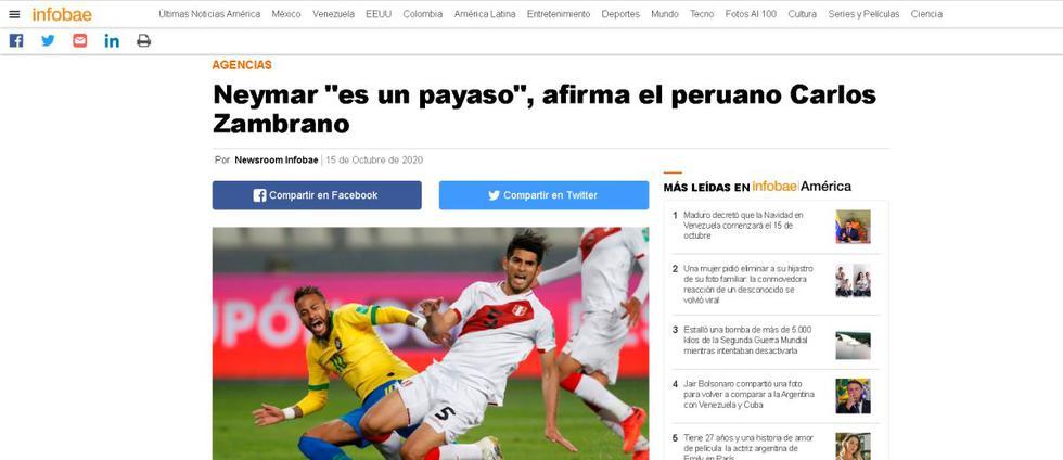 La reacción de la prensa del mundo a las palabras de Carlos Zambrano sobre Neymar. (Captura: Infobae)