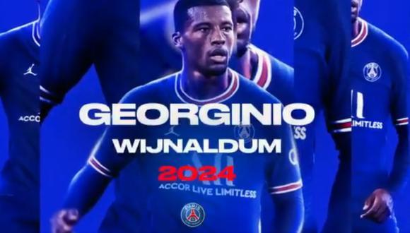 PSG cerró el contrato de Georginio Wijnaldum. (Foto: PSG)