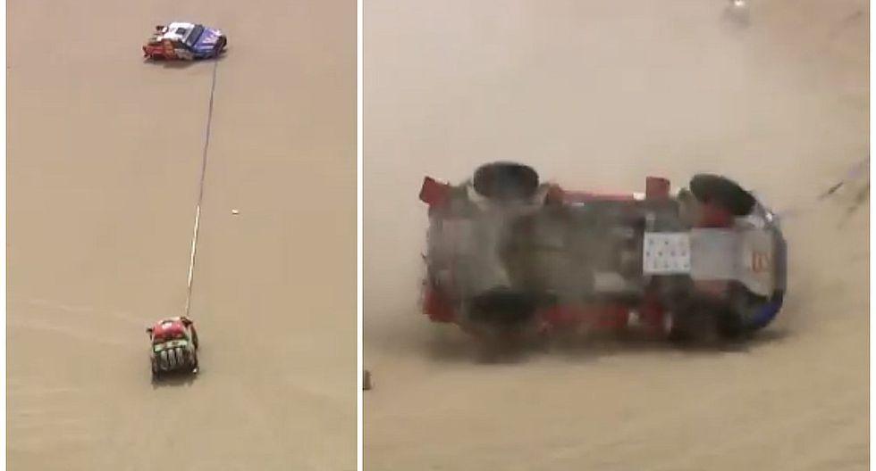 Dakar 2018: Intentaron remolcar una camioneta atascada en la arena pero todo terminó mal (VIDEO)