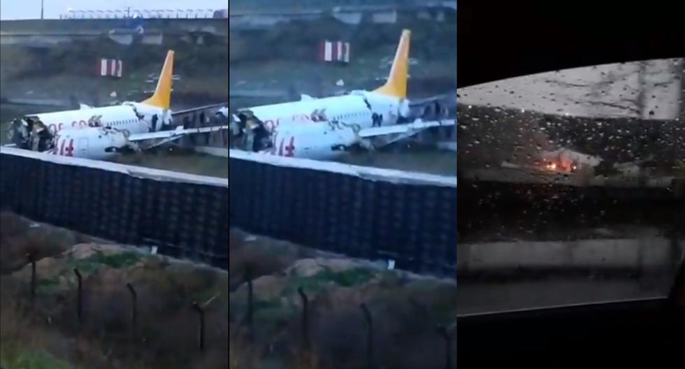 Turquía: un avión se sale de pista en Estambul y se parte en dos al aterrizar