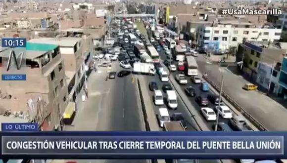 Cierre de vías en San Martín de Porres por evaluación del puente Bella Unión.Canal N