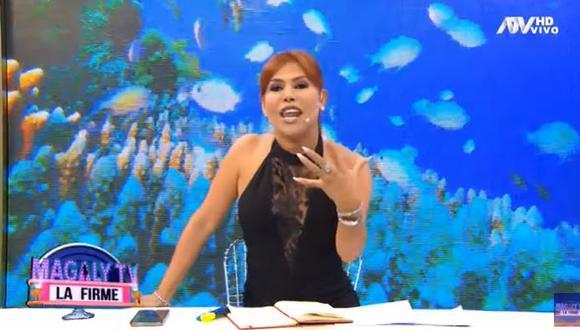 "Magaly Medina: así reaccionó cuando le pusieron en vivo la canción ""Probablemente"" de Alfredo Zambrano. (Foto: Captura ATV)"