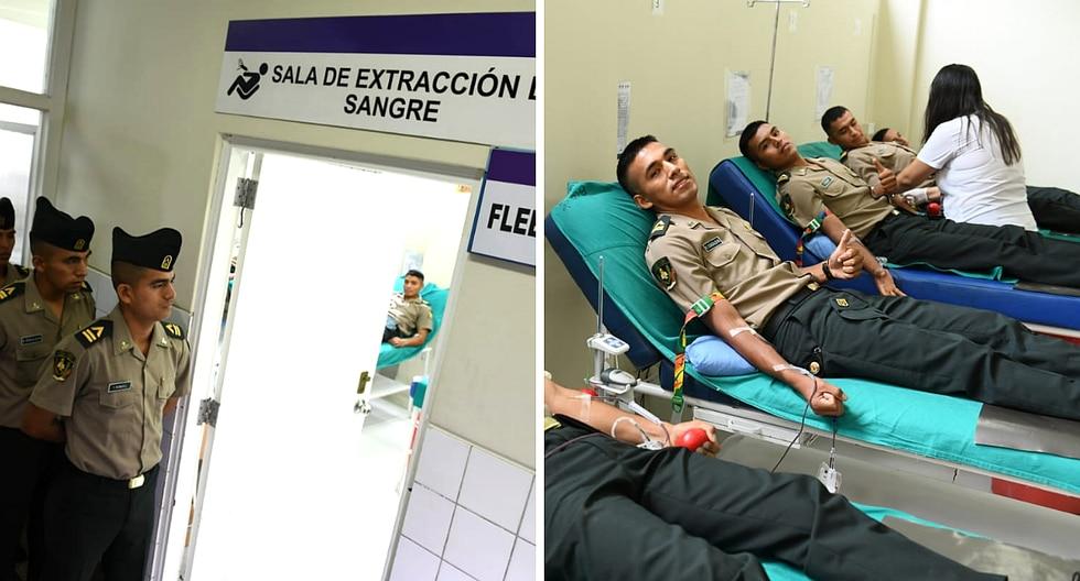 Alumnos de la PNP donan sangre a bomberos heridos tras incendio en VES