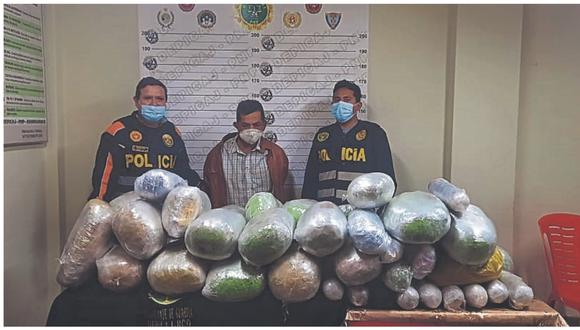 En los distritos de Sarín y Chugay, ubicado en la provincia de Sánchez Carrión. La droga e intervenido fueron conducidos al Areandro. (Foto: PNP)